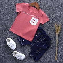 2017 Cotton Summer Punk Rock Baby Boys Short Sleeve T-Shirt + Denim Jeans Shorts Two Pieces Suits Kids Clothing Sets