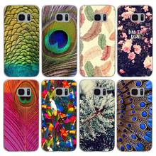 G419 Luxury Peacock Feather Transparent Hard PC Case Cover For Samsung Galaxy S 3 4 5 6 7 8 Mini Edge Plus Note 3 4 5 8(China)