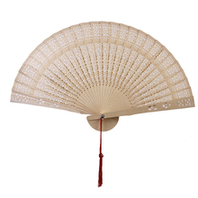 New Hot Sale Chinese Japanese Sandalwood Hand Fan Wooden Scented for Wedding Party Gift Free Shipping(China)