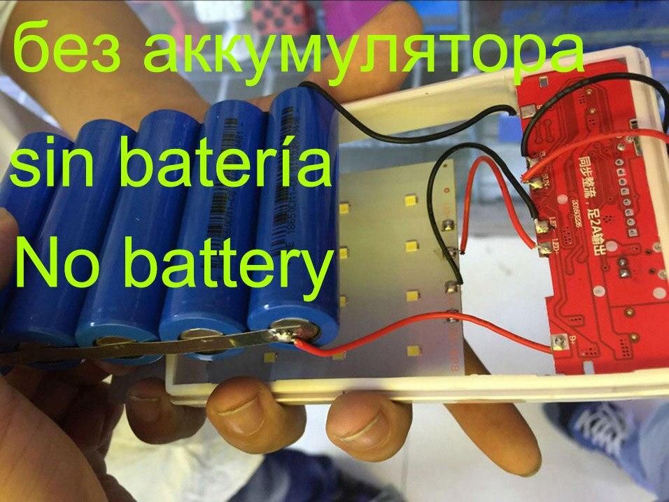 (No Battery) 18650 Solar Power Bank Case DIY Box Dual USB Kit Phone Charger Flashlight 5x18650 Powerbank Portable Pover Bank Power Bank