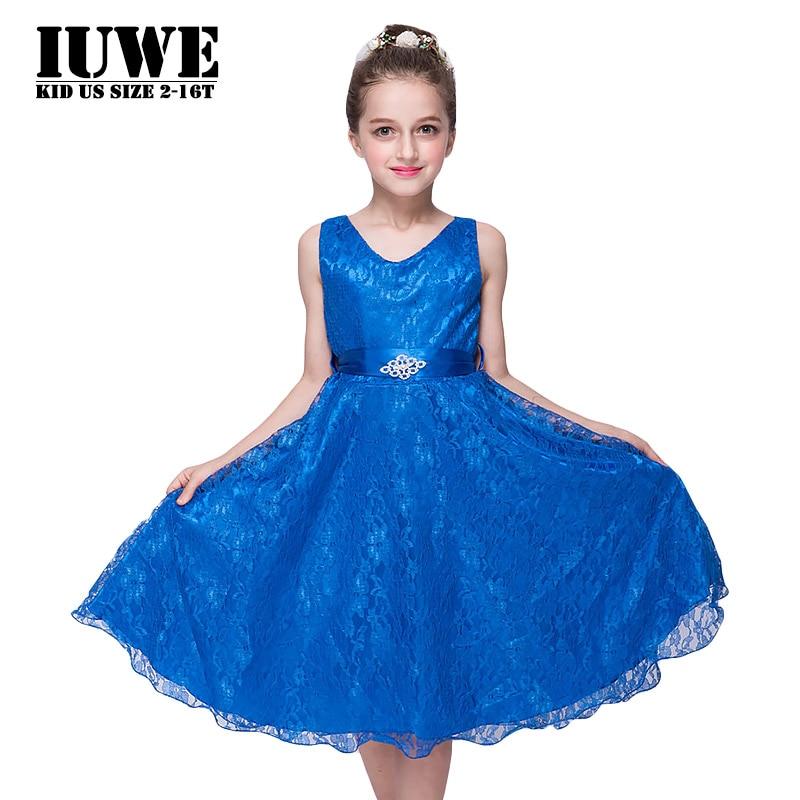 Girls Dresses  Bule Lace Dress for Kids Princess Dress 2017 Belt Bow Infant Party Dress Girls Clothes 3-12 T Girl Summer Clothes<br><br>Aliexpress