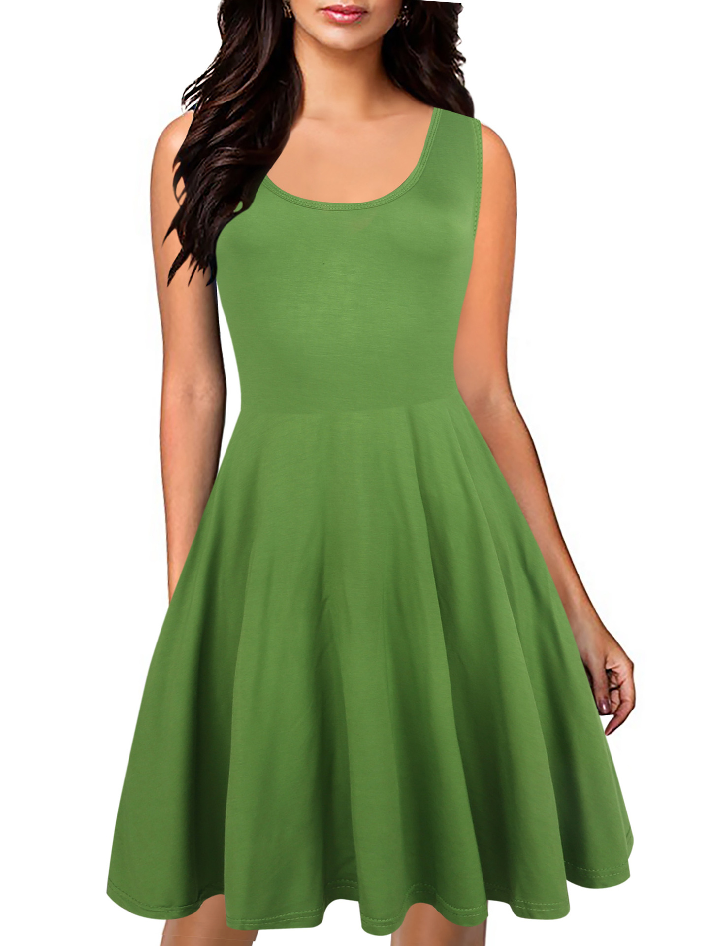 2017 New Summer Dress Women Sexy Dresses Sleeveless Casual Slim Bodycon Dress Summer Solid Color Green Color Dress Vestidos J591