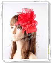 Free shipping Red sinamay  hats feather flower fascinators for party hats bridal hair accessories  cocktail hats OF153509