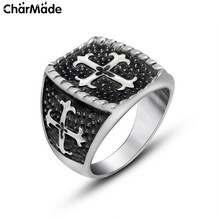 New Arrival Goth Punk Jewelry Vintage Black Cross Rings For Men Stainless Steel Biker Christian Accessory Male Anel Jewelry R518
