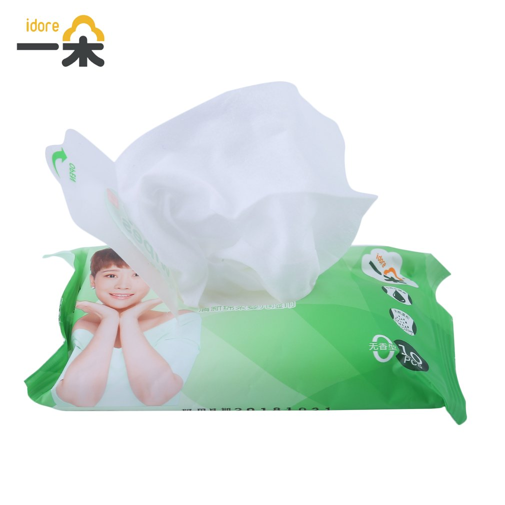 100pcs/10 Pack Idore Newborn Baby Wet Wipes Fresh Soft Moist Toddler Infant Disposable Portable Tissue Skin Clean Care Wet Wipes 10