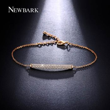 NEWBARK Charme Bar Curseur Bracelets Pour Femmes Brillant Zircone Pavé CZ Réglable Rose Plaqué Or Chaîne De Mode Bijoux