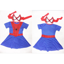 Spiderman Dress Costume Halloween Costume For Girls Party Skirt Cosplay Costume Kids Short Sleeve Dress With Mask S-XXL(China)