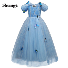 New Baby Girl Anna Elsa Dress High-Grade Sequined Princess Cinderella Fancy kids clothes For Party Costume Snow Queen Cosplay(China)