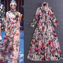 2016 New Fashion Floral Maxi Dress Women Casual Fit  Rose Floral Long Sleeve Floor Length Dress Bohemian Long Robe Femme YC408
