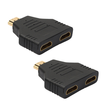 2Pcs 1080P 1 In 2 Out HDMI Splitter Male to 2 Female Digital Signal Transmission Adapter Protector Converter for PS3 HDTV
