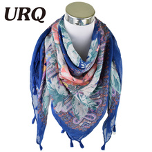 2016 New Fashion Big Square Tassel Scarf viscose scarf Women Brand Wraps Autumn winter Scarf women Floral scarves V11A11494(China)