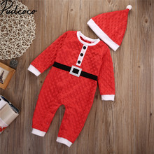 2017 Xmas Christmas Baby Clothes 0-24M Newborn Baby Boys Girls Santa Claus Rompers Hat 2Pcs Outfits Infant s Christmas Gift(China)
