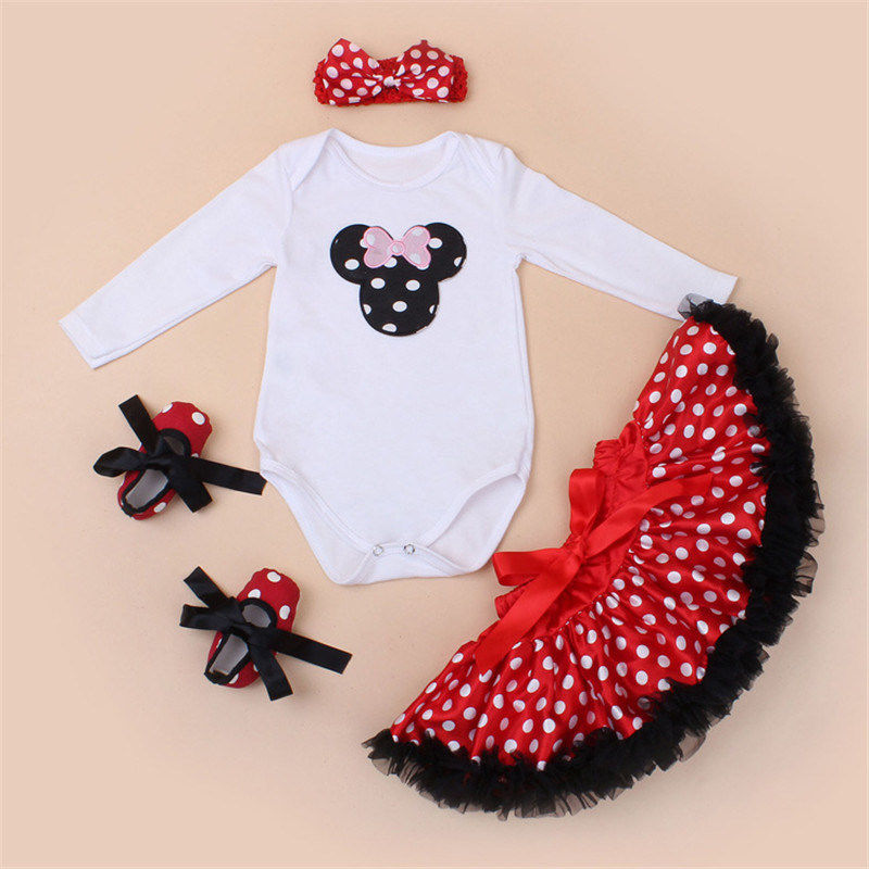2017 Autumn Clothing Set Mickey Minnie Character Full Tops Red Polka Dot Dress Baby Shoes Hairband 4Pcs Fashion Baby Girls Set<br><br>Aliexpress