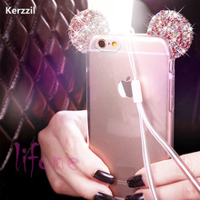 Buy Kerzzil Bling Glitter Diamond Soft Case iPhone 7 6 6S Plus Mickey's Ear Silicone Clear Shining Cover iPhone 6 7 6S Back for $2.37 in AliExpress store