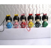 New 13sets ( 6 pcs/set) Japanese kokeshi doll mobile phone strap Charm Childre's W80(China)