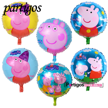 10pcs/lot pink pig cartoon 45*45 round inflatable helium balloon aluminum balloons decorated kids birthday party supplies(China)