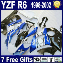 custom moto blue fairing for YAMAHA YZFR6 1998 1999 2000 2001 2002 YZF600 02 00 01 99 98 YZF R6  body kits repair fairings kit