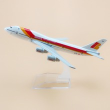 16cm Metal Spain Air IBERIA Airlines Boeing 747 B747 Airways Plane Model Airplane Model w Stand Aircraft