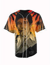 Real American Size  tony montana 3D Sublimation Print Custom made Button up baseball jersey plus size