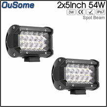 2pcs 5 inch 54W spot beam offroad 4x4 ATV UTV auto waterproof truck boat car offroad led work light for JEEP(China)