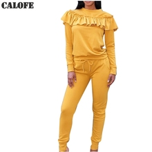 CALOFE Ruffles Long Sleeve Tracksuit Women Sportswear Gym Two Piece Running Sets Yellow Sweat Pants Slim Jogging Sport Suit Z25(China)