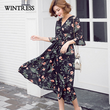 WINTRESS High Quality Print Floral Chiffon Sundress Summer Flare Sleeve Wrap V-Neck Vintage Vestidos Robe Women Dresses