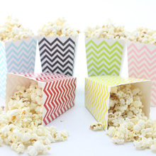 MEIDDING 24pcs/lot Waves Shaped Paper Popcorn Boxes Pop Corn Favor Bags Candy Snack Wedding Birthday Party Tableware Supplies