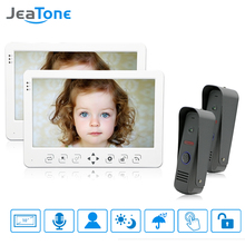"JeaTone Color 10"" LCD Touch Key Monitor Video Door Phone Doorbell Intercom System Recording & Picture Memory IR Camera Kit 2v2(China)"