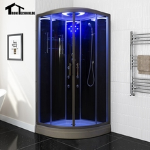 90cm Shower massage Corner Cabin room black NO Steam Cabin hydro cubicle Enclosure glass sliding doors walking-in saunaD09
