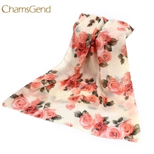 Chamsgend Newly Design Women Fashion Rose Flower Chiffon Scarf Long Shawl Wraps  Aug13 Drop Shipping