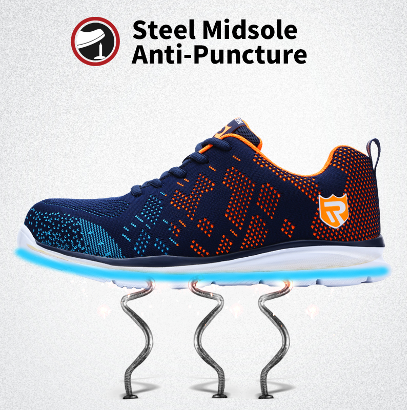 Independent Best Selling 2019 Fashion Safety Shoes Mens Lightweight Mesh Breathable Night Reflective Casual Shoes Mens Steel Work Shoes Men's Shoes Work & Safety Boots