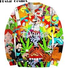 PLstar Cosmos Drugs&weed Hot Men Women Sweatshirt Couples Sweats Unisex Sweatshirt Red Wine 3D Pullovers cartoon hoodies