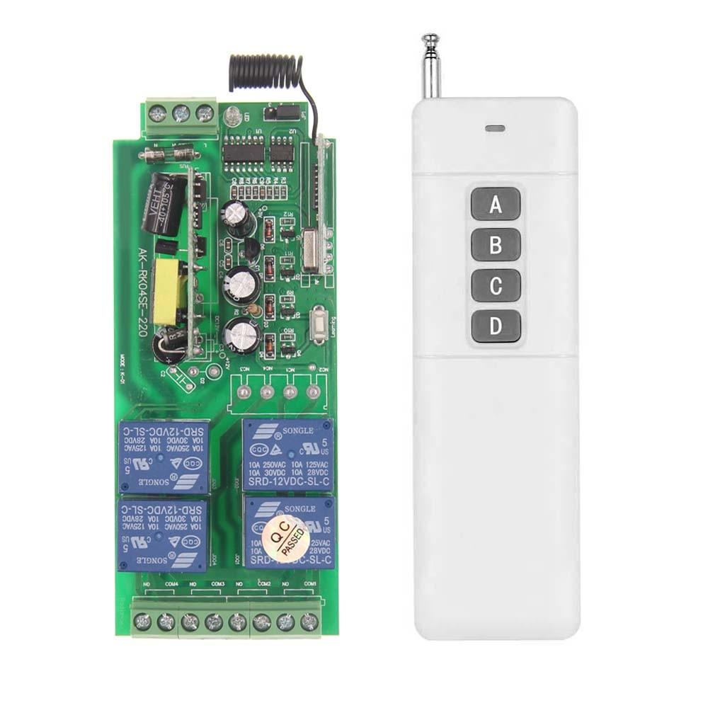 3000m AC 85V-265V 110V 220V 4 Channel 4CH RF Wireless Remote Control Switch System Receiver + Transmitter, 315 433.92 MHZ<br><br>Aliexpress