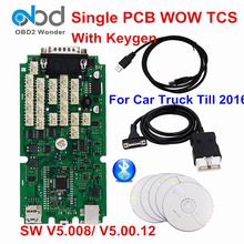 Top Quality Wow Snooper Single PCB Green Board Diagnostic Scanner WOW V5.00.12 R2 V5.008 With KeygenTCS CDP Pro For Car Truck