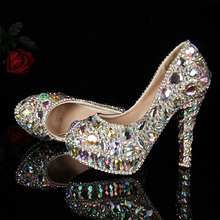 2017 Newest Designer AB Crystal Bridal Wedding Shoes Seven Kinds Of High Heels Gorgeous Rhinestone Partyprom Nightclub Women(China)