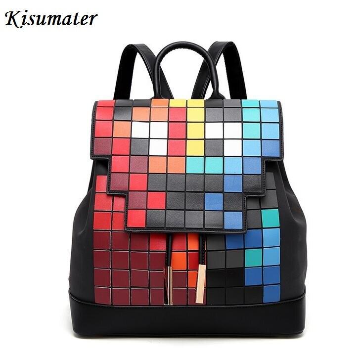 Kisumater 2017 New Women Backpack Geometric lattice Super PU Square Mosaic color Backpack Students School Bag Free Shipping <br>