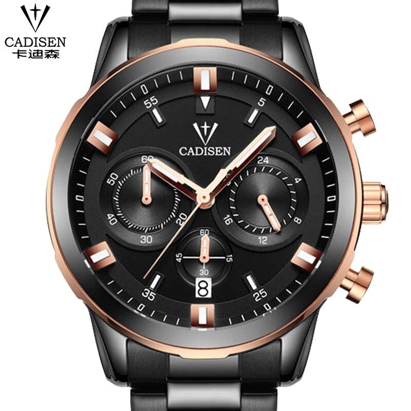 Watches Men Luxury Brand CADISEN Fashion Mens Quartz Watch Casual Waterproof Men Full Steel Wristwatches relogio masculino<br>