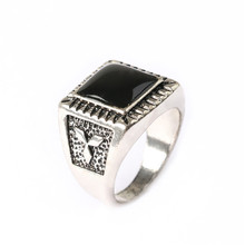 Square Plating alloy ancient Resist allergic ring retro Fashion punk ring for men Jewelry Free Shipping