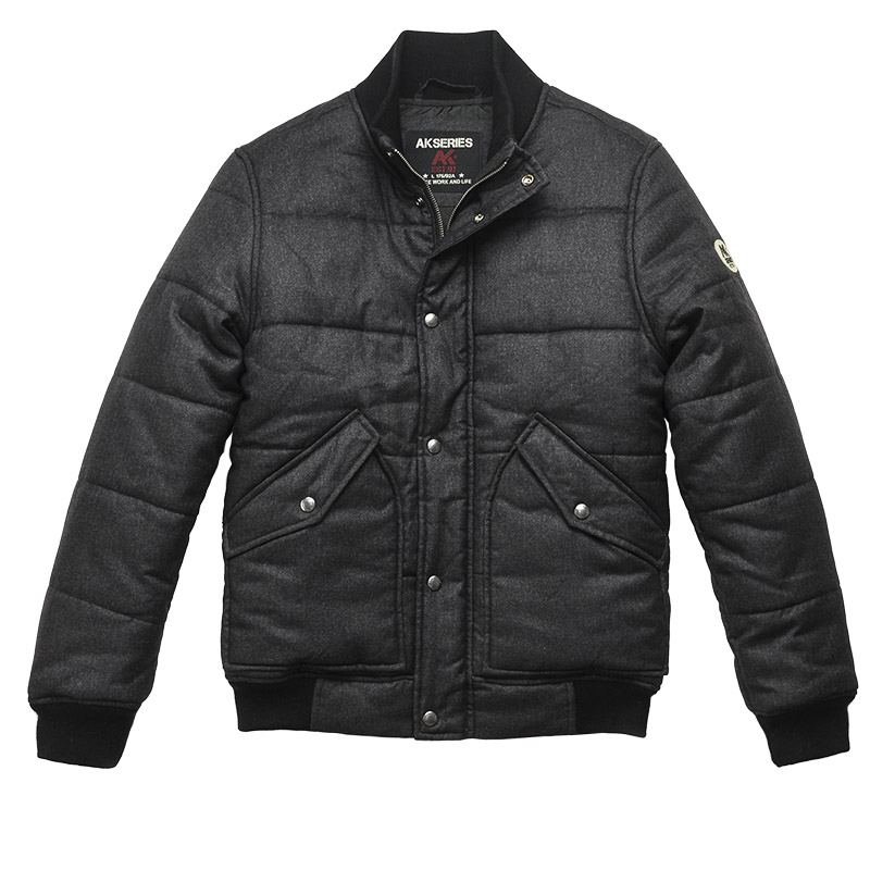 AK CLUB Brand Men Parka Windbreaker Vintage Style Ribbing Stand Collar Parka Short Jacket For Men Casual Parka Outwear 1510011