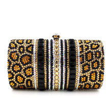 Luxury leopard Crystal Evening Bags Women Party Dinner Clutch Bag Wedding Bridal Metal Clutches Rhinestones Handbags Purses(China)