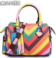 Miwind-F Rainbow hit color stripes stitching hand pillow bag,fashion new women's quality cute oblique shoulder boston tote bag