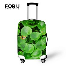 Cute 3D Green Plant Owl Print Travel Luggage Protective Covers For 18-30 Inch Suitcase Luggage Case Covers Elastic Luggage Cover