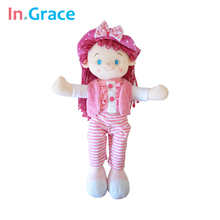 pink large girls toy 22'' stuffed and plush beautiful dolls for kids girls with cute bow hat soft cloth doll unique gifts