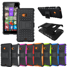Hybrid Heavy Duty Shockproof Armor Rugged Matte Kickstand Case Cover For Microsoft Nokia Lumia 540 Hard Cover Phone Shell Bag(China)