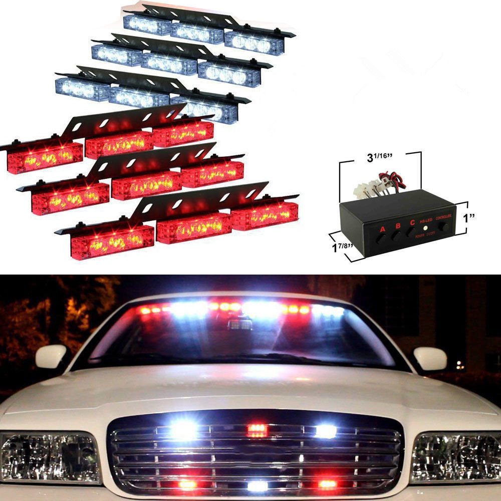 CYAN SOIL BAY 6 x 9 54 LED Emergency Warning Car Front Grill Strobe Flash Lights Red White<br>