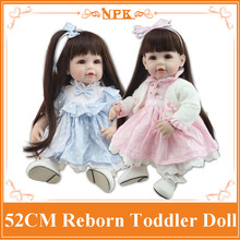 Wholesale 52cm 20'' Doll Baby Born With Long Sticked Hair Wig Hot Welcome Realistic Toddler Dolls Brinquedos De Bebe At Birthday