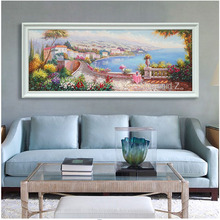 Highly skilled artist Hand-Painted Thomas Kinkade Landscape Oil Painting ocean wave painting beach canvas art kitchen painting(China)