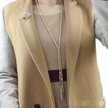 Hot Europe Style Charms Gold Pleated Tassel Long Sweater Chain Necklace  7FLR BDE2