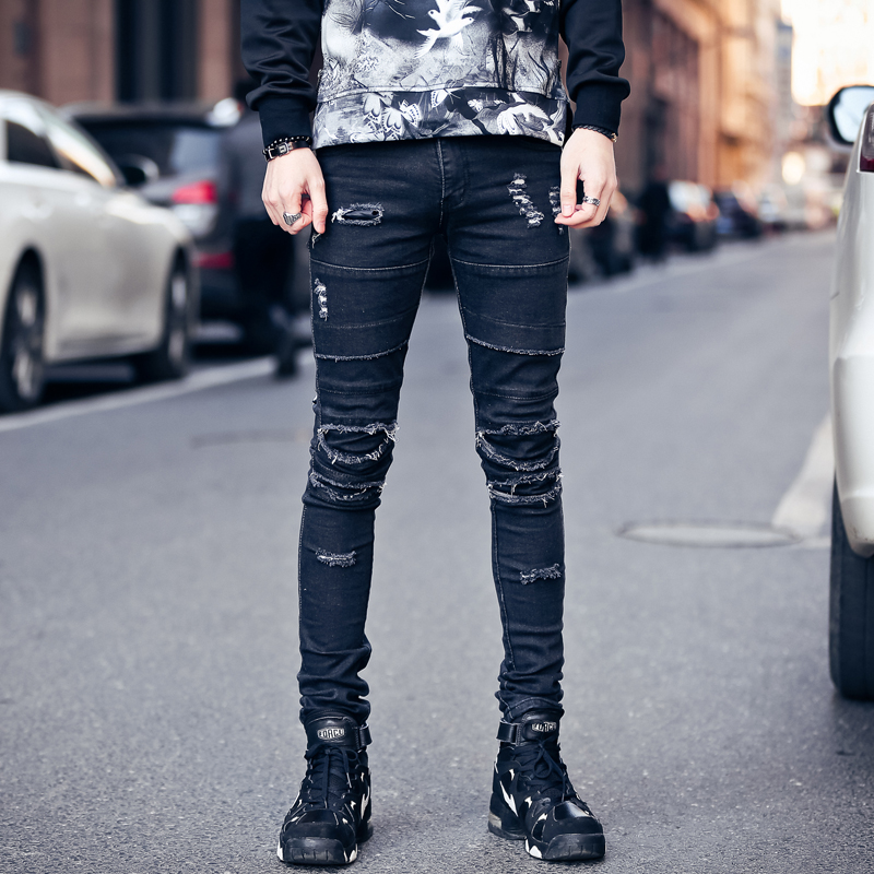 2017 Autumn Mens Ripped Hole Jeans Men Punk Style Runway Cool Destroyed Design Fashion Jeans PantsОдежда и ак�е��уары<br><br><br>Aliexpress
