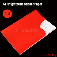 30sheets Red A4 PP Synthetic Paper Adhesive Sticker Paper Printing Paper Glossy Sheet Fit Laser Printer(China)